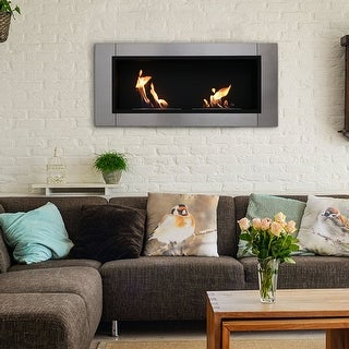 Sunnydaze Scalda Ventless Bio Ethanol Wall-Mounted Indoor Fireplace - 43-Inch