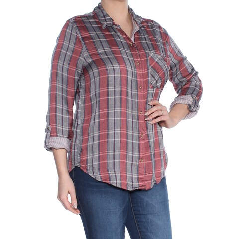 LUCKY BRAND Womens Red Plaid Cuffed Collared Button Up Top Size: XS
