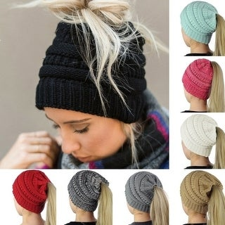 Fashion Winter Women's Knitting Wool Hat Earpiece Cap with A Ponytail Cap Stretchy Warm Hat Beanie 8 Colors