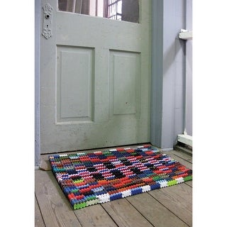 Reclaimed Flip-Flop Door Mat Rectangle Welcome Mat - Easy Clean Durable Sturdy