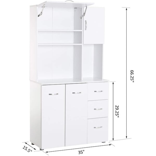 """HOMCOM 66"""" Kitchen Pantry Microwave Hutch with 4 Large Cabinets, White"""