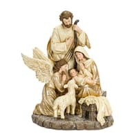 """15"""" Gold and Brown Antique Holy Family with Angel and Lamb Home Decor"""