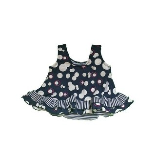 Baby Girls White Contrast Stripe Cirque Ruffle Detail One Piece Swimsuit - 24 months