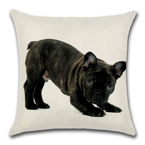 """Cute Black French Bulldog """"Ready to Play"""" Decorative Throw Pillow Cover 18"""" x 18"""""""