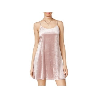 Teeze Me Womens Mini Dress Velour Spaghetti Strap