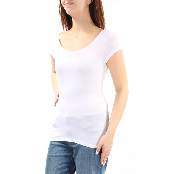 Womens White Short Sleeve Scoop Neck Top Size M