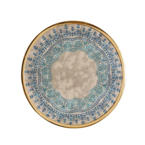 """Elmira Oriental Handcrafted Round Tempered Glass Wall Accessory by Christopher Knight Home - 0.50"""" D x 12.25"""" W x 12.25"""" H"""