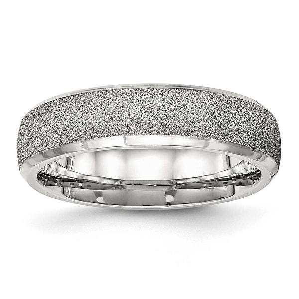 Stainless Steel Polished Laser Cut Ring (6 mm) - Sizes 6 - 13