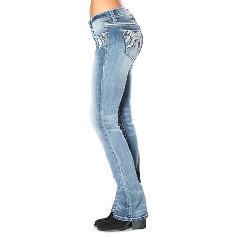 Grace in LA Denim Jeans Womens Bootcut Feather Stitch Light