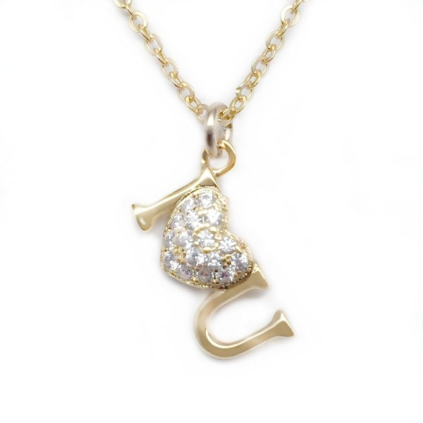 "Julieta Jewelry CZ I Heart U Gold Charm 16"" Necklace"