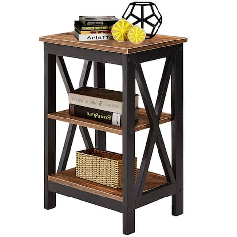 VECELO End Bedside Table Nightstand Storage Room Decor W/2 Shelf Brown/Black/White