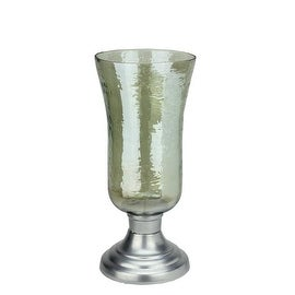 "15.5"" Decorative Golden Luster Hurricane Pillar Candle Holder with Silver Base"