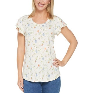 Isaac Mizrahi Live! Womens True Denim Ditsy Floral Knit Top X-Small Ivory 306436