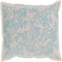 Alice Blue and Cloud Gray Elegant Blossom Dreams Linen Decorative King Sham