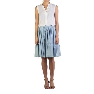 Miu Miu Women's Cotton Ribbed Skirt Blue