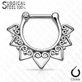Tribal Fan 316L Surgical Steel Septum Clicker (Sold Ind.) - Thumbnail 1