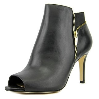 Marc Fisher Serenity Women Peep-Toe Leather Black Ankle Boot