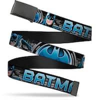 Blank Black Buckle Batman Poses Bat Signal Close Up Black Grays Blues Web Belt