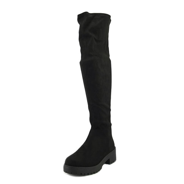 Coolway Bombi Women Round Toe Canvas Black Over the Knee Boot
