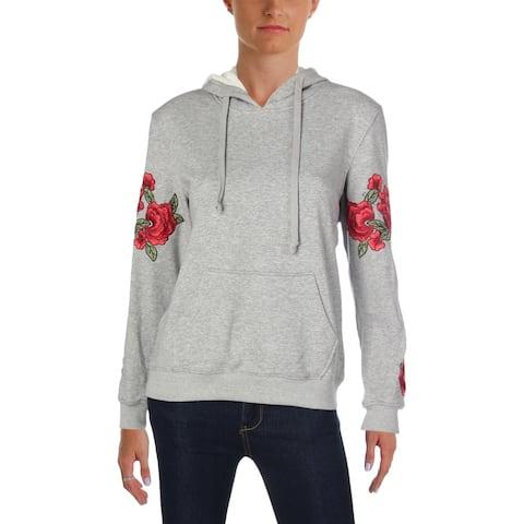 Aqua Womens Sweatshirt Floral Print Embroidered - S