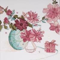 """Pastel Floral Counted Cross Stitch Kit-15""""X15"""" 14 Count"""