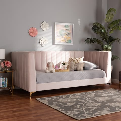 Oksana Light Pink Velvet and Gold Finished Twin Size Daybed