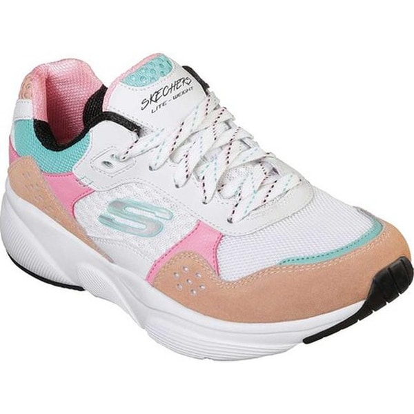 pink blue and white skechers