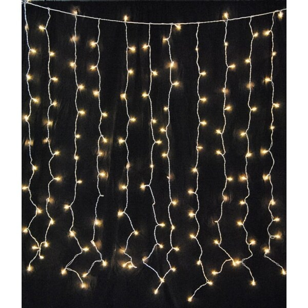 Christmas at Winterland WL-CUR150WW-LED-W 6 Foot Square Warm White LED Light Curtain