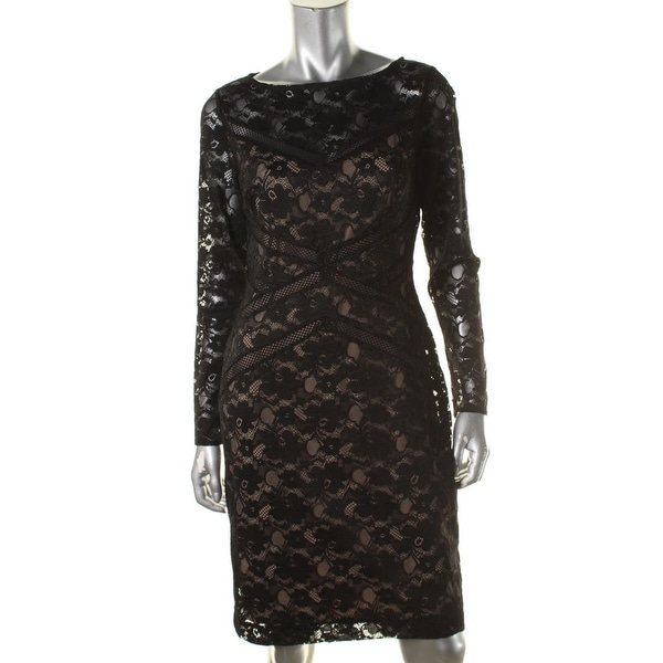 Lauren Ralph Lauren Womens Cocktail Dress Lace Long Sleeves