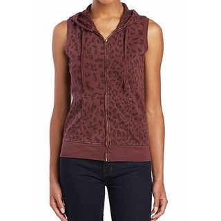 CurrentElliott NEW Red Women's Size 2 Printed Vest Hooded Sweater