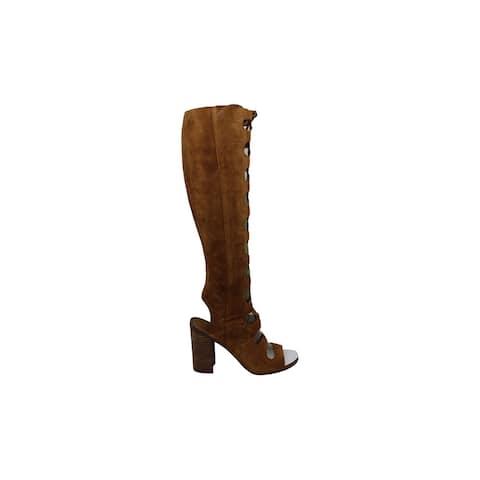 Franco Sarto Womens Serena Suede Peep Toe Knee High Fashion Boots - 5.5