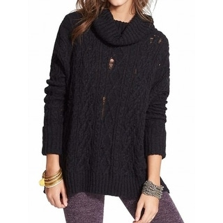 Free People NEW Black Womens Size Small S Distressed Cowl Neck Sweater