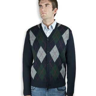 Mens Argyle Cardigan Sweater (SW-299)