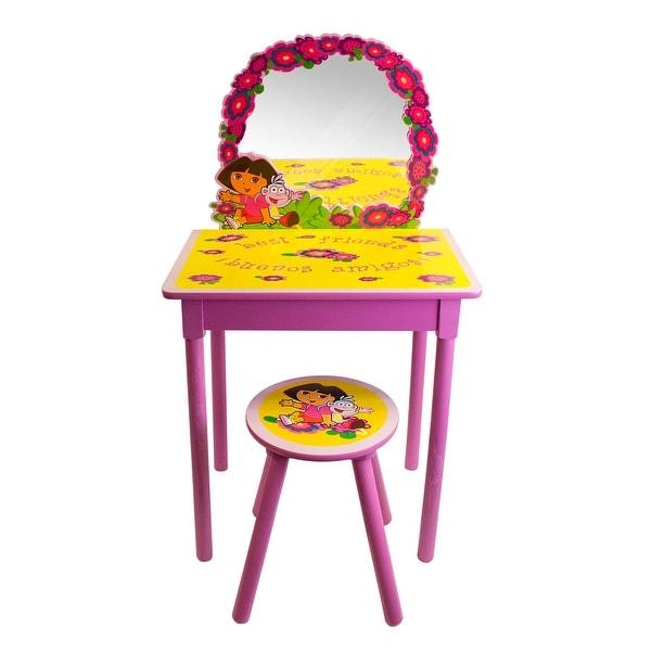 Dora the Explorer Girls Pink Vanity and Stool Set