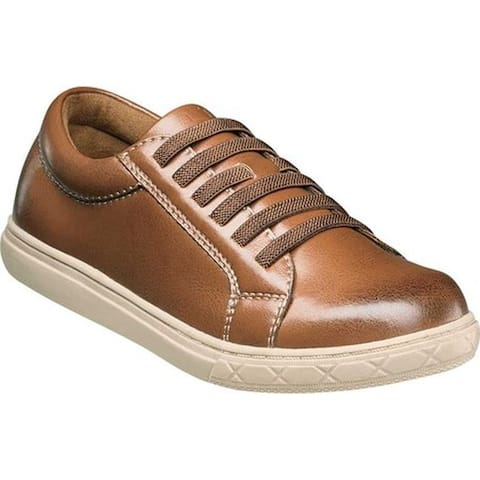 Florsheim Boys' Curb Elastic Lace Sneaker Jr. Cognac Smooth Leather