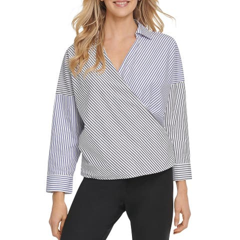 DKNY Womens Blouse Cotton Striped - Navy/White/Blue