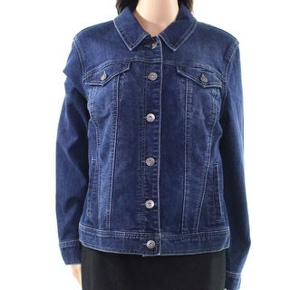 Style & Co. NEW Blue Womens Size Large L Embroidered-Back Denim Jacket