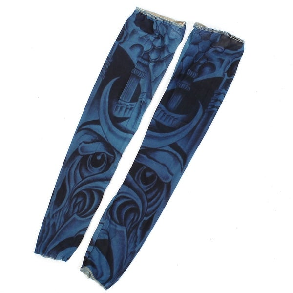 Unique Bargains 1 Pair Summer Outdoor Unisex Sun Protection Driving Arm Sleeves Blue Black