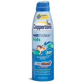 Coppertone Wet 'n Clear Kids Sunscreen Continuous Spray SPF 50, 6 oz