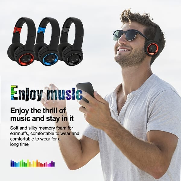 Shop Agptek Bluetooth Headset Wireless Hi Fi Stereo Foldable Headphones Earphones Universal Red Overstock 26889551