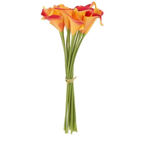 Wedding Party Decor PU Calla Lily Artificial Flowers Bouquet Yellow Red 12 Pcs