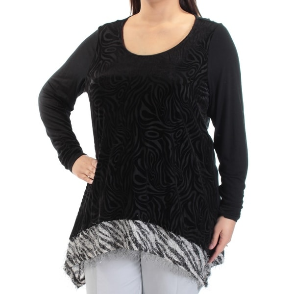cf12f97c0bb2d Shop Womens Black White Animal Print Long Sleeve Jewel Neck Top Size 1X -  On Sale - Free Shipping On Orders Over  45 - Overstock.com - 21591600
