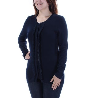 Womens Navy 3/4 Sleeve Jewel Neck Casual Button Up Sweater Size S