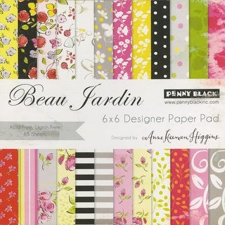 "Penny Black Single-Sided Paper Pad 6""X6"" 48/Pkg-Beau Jardins"