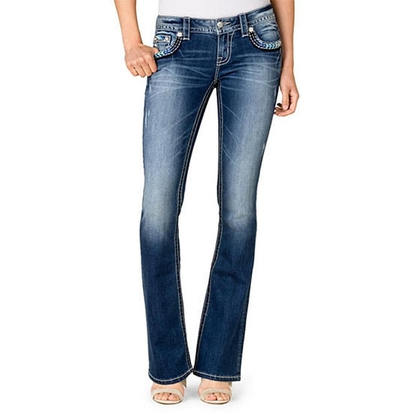 Miss Me Denim Jeans Womens Bl Ombre Cross Boot Cut Medium JP7721B