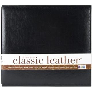 """We R Classic Leather Post Bound Album 12""""X12""""-Black"""