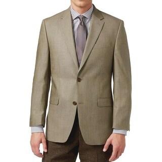 Ralph Lauren Olive Silk and Wool Mini Houndstooth Sportcoat 40 Regular 40R
