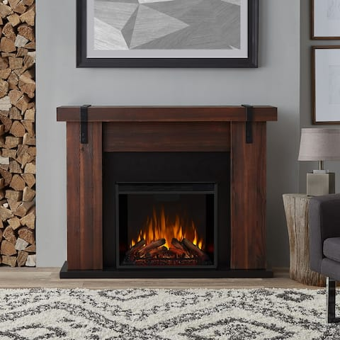 Aspen Electric Fireplace in Chestnut Barnwood finish - 48.5L x 13.5W x 38.19L