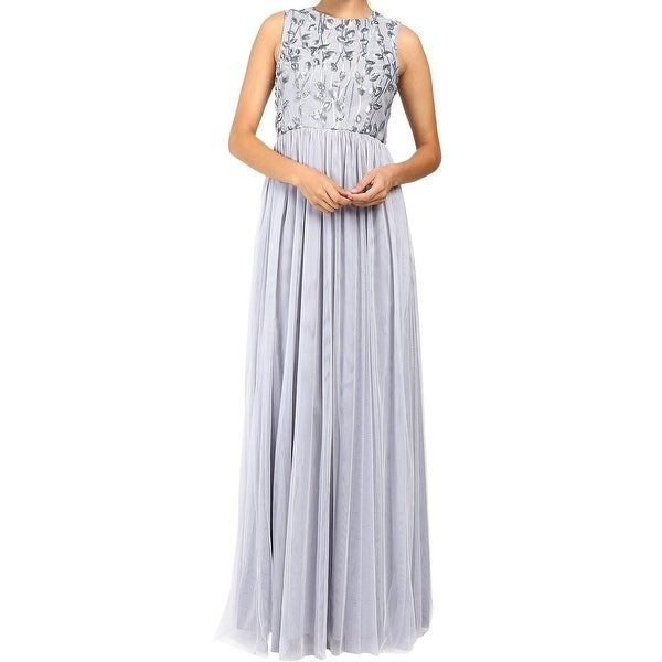 Donna Morgan Steel Blue Women Size 2 Sequin Bodice Tulle Gown Dress