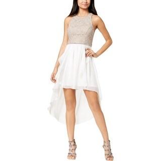 City Studio Womens Juniors Triangles Semi-Formal Dress Chiffon Lace - 11